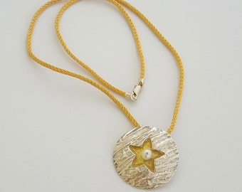 Fine Silver and 22k Gold Lentil Pendant with Pearl accent