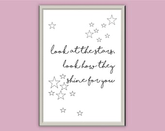 Look at the stars... // Typography Prints // Wall Art // Home Decor // A5 A4 A3