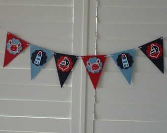 Nautical Banner Bunting Garland - Baby shower  Nursery decor Birthday decor Party decor