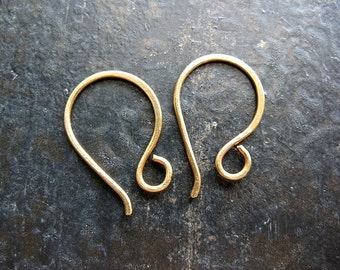 Small Antiqued Brass Hammered Ear Wires - 1 pair
