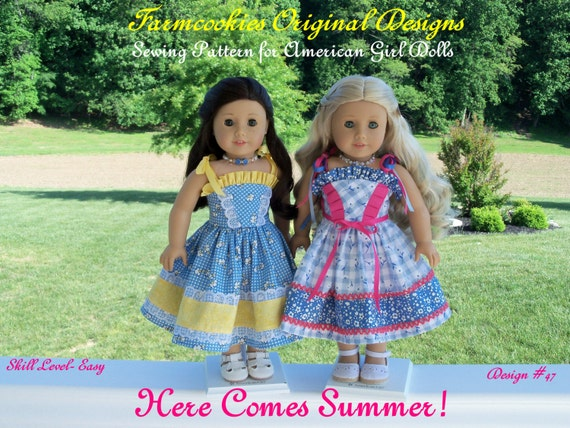 """PDF SEWING PATTERN for 18 Inch Doll Clothes / Here Comes Summer! / Sundress Fits Like 18"""" American Girl Doll Clothes Pattern"""