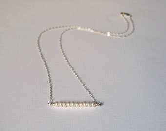 Pearl Bar Necklace, Casual, Everyday, Bar Necklace, Pearl Necklace, June Birthstone, Birthday, Wedding, Gift, Sterling Silver, LIJ14026