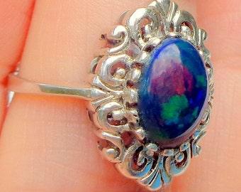 Sz 6.5,Black Welo Opal,Sterling Silver Ring,Natural Gemstone,Ornate,Ethiopian Opal Ring,Edwardian Fantasy,Large, Stunning Blue Stone, OOAK