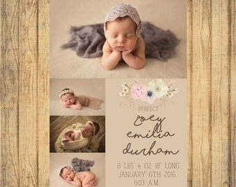 Baby Girl Vintage Birth Announcement JPEG FILE