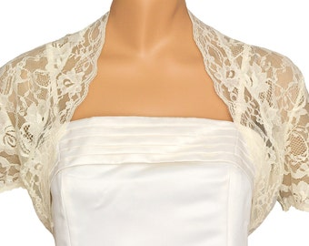 Ladies Ivory Lace Short Sleeve Bolero Shrug Jacket Sizes 4-26