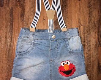 Elmo Inspired Shorts with Suspenders