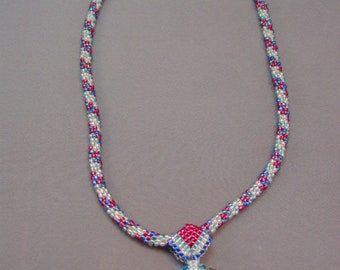 Beaded  Necklace - Patriotic