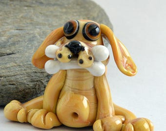 DOG with Bone,  Glass Sculpture Collectible, Focal Bead, Pendant, Izzybeads SRA