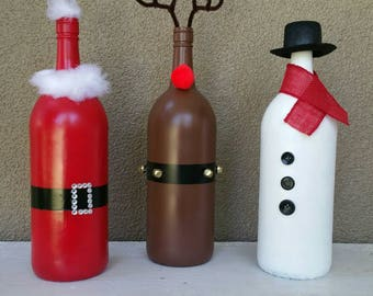 Christmas Wine Bottle Trio