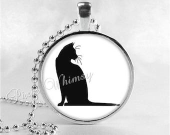BLACK CAT Pendant Necklace Minimalist Jewelry Kitten Kitty Minimal Black White Silhouette, Gift for Cat Lover Owner
