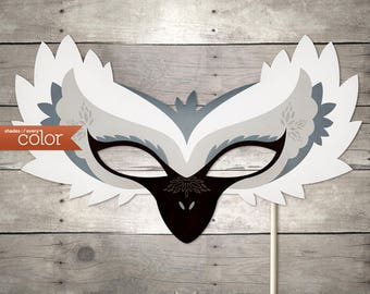 DIY Printable White Trumpeter Swan Mask - Halloween, Birthdays, Masquerade Ball, Mardi Gras, and Weddings