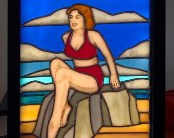 LED lit stained glass light box of a bathing beauty