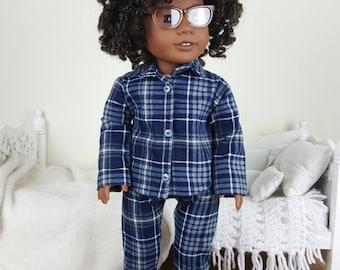 18 inch doll plaid pajamas | flannel pj's | plaid shirt & pants