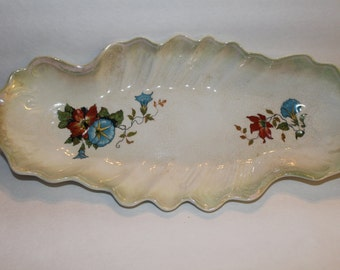 Serving Tray with Painted Flowers