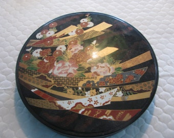 Vintage gorgeous japanese/Asian container with flowered and fans painted on lid