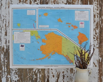 Vintage School Map - Alaska Hawaii Large United States Nystrom History Poster Canvas