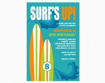Surfboard Birthday Party Invitation, Surf Birthday Party Invitation, Orange, Blue, Green, Wave, Personalized, Printable or Printed