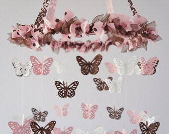 Butterfly Nursery Mobile - Pink, Brown and White Nursery Mobile, Baby Shower Gift, Photographer Prop