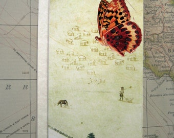 Handmade greetings card, Hand made card,  greetings card, ancient map,  illustration, butterfly,  birthday card, congratulations card