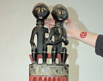 FREE SHIPPING! Large, Royal Twin, Family, Decorative Comb, Ghana, Ashanti, Fertility, Wood Carved, Africa, African, Tribal