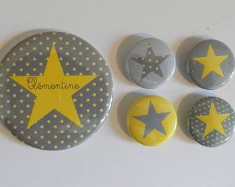 1 magnet 56 mm + 4 25mm custom yellow and gray polka dot magnets