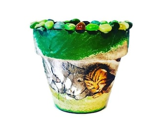 Flower pots cats garden decor home decor handpainted  centerpiece table decor gift for her, gift for mother, for wife, for girlfriend