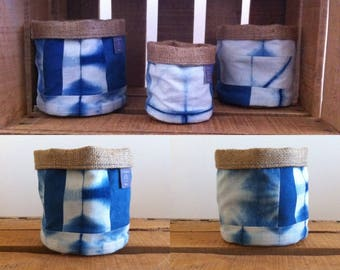 Storage pot fabric Indigo color 11 x 11 cm 1 patchwork pattern