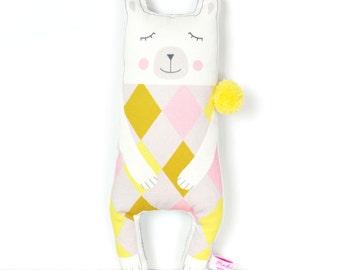 polar bear doll in white with pom pom