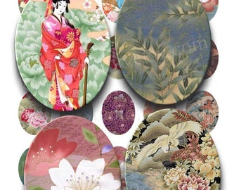Instant download - Asian Inspiration Floral Printable Collage Sheet - 30mm X 40mm Ovals for pendants glass tiles 203