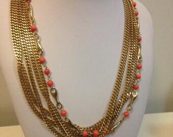 Vintage Modernist Goldtone &Coral Bib/Link Chain Style Necklace