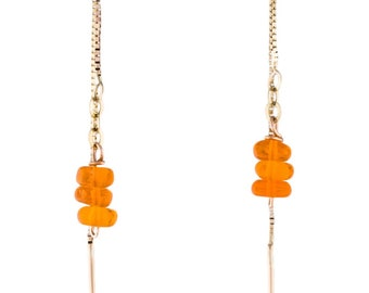 Fire Opal 14k Gold Threader Chain Earrings
