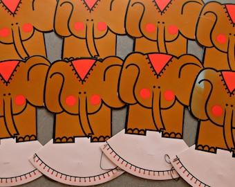 Vintage Elephant Hats, Child Party Hats, Vintage Party Hats, Elephant Shaped Hat, Vintage Party Supply, Cute Kawaii Zakka Party Hats Kids