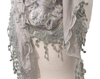 Triangle scarf,shawl or wrap with floral motifs and crochet lace trim - grey - CFOC487