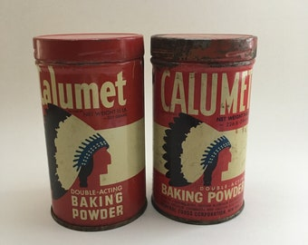 Vintage Calumet Baking Powder Tins with Metal Lids - Set of Two