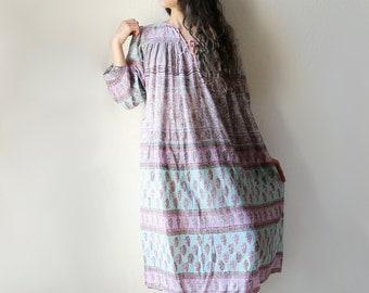 1970s Indian Cotton Gauze Dress // Blockprint Pastel Floral and Paisley // Bohemian Hippie Gown // 1960s 70s