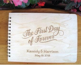 Custom Wedding Guest Book, Engraved Guest Book, Wooden Wedding Guest Book, First Day