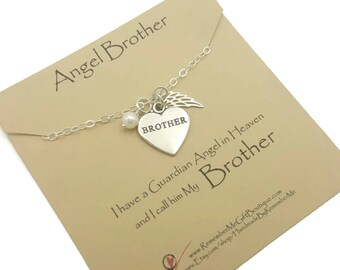 Memorial Jewelry, Angel Brother, Loss of Brother, Sterling Silver, Memorial Necklace, Memorial Gift, Remembrance Jewelry, Sympathy Gift
