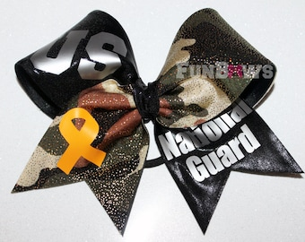 US National Guard Yellow ribbon and camo Cheer bow by FunBows !