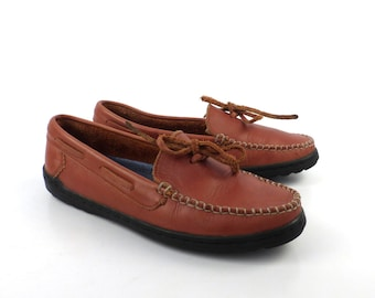 Keds Shoes Loafers Vintage 1980s Moccasins Brown Leatther Women's size 7 1/2