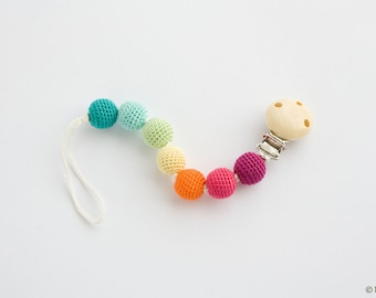 Bright Rainbow Pacifier Clip - Pure Cotton, Wooden Beads - Teething Pacifier Clip, Dummy Chain - PC04