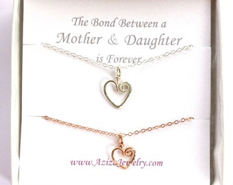 Mother Daughter Heart Necklaces. Rose Gold Silver Heart Necklaces. Two Hearts Pendants. Valentines Day. New Mom Jewelry. Push Present