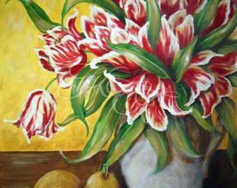 """Original Oil Painting - """"Tulips and Pears"""""""
