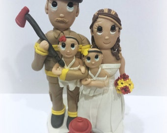 Custom Fire Fighter and Family Wedding Cake Topper with Fire Hydrant