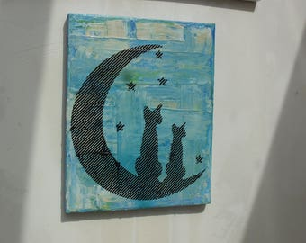 Contemporary acrylic painting, cat on Moon unique designer piece. free shipping
