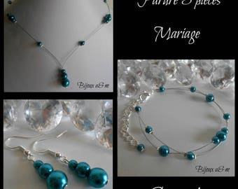 Set of 3 wedding pieces cascade of peacock blue pearls