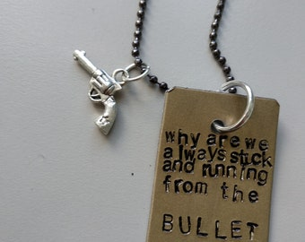 Harry Styles, Sign of the times, Necklace, handstamped charm, bullet, engraved with lyrics, tattoo idea