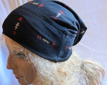 Sale - Black Print Slouchy Beanie, Slouchy Hat, Jersey Beanie, Slouch Beanie