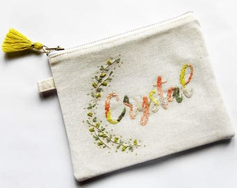 Personalized Hand Embroidered Pouch | Monogrammed Name Zippered Pouch Bag | Custom Mother's Day Bridesmaid Birthday Anniversary Gift