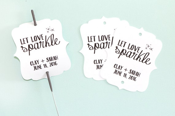 Let Love Sparkle - Sparkler Gift Tags - Black + White - Wedding Favors. Customizable Tags. Wedding Sparkler Tag. Custom Sparkler Tags.