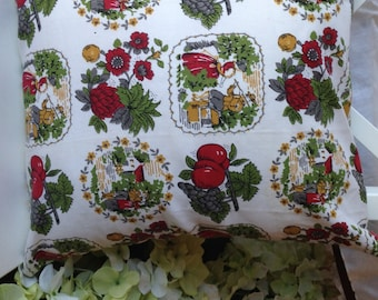 Vintage Pillow Cover 16x16 red and olive Kitchen Curtain